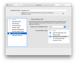 Internet sharing settings for OSX
