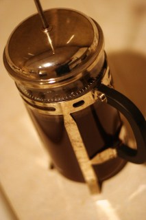 A French Press coffee brewer