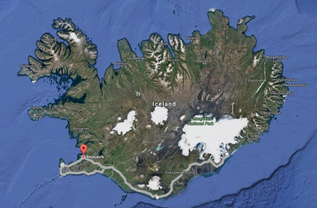 """A driving route along the south end of Iceland, east to the glaciers, then around the north end of the """"Golden Circle""""."""