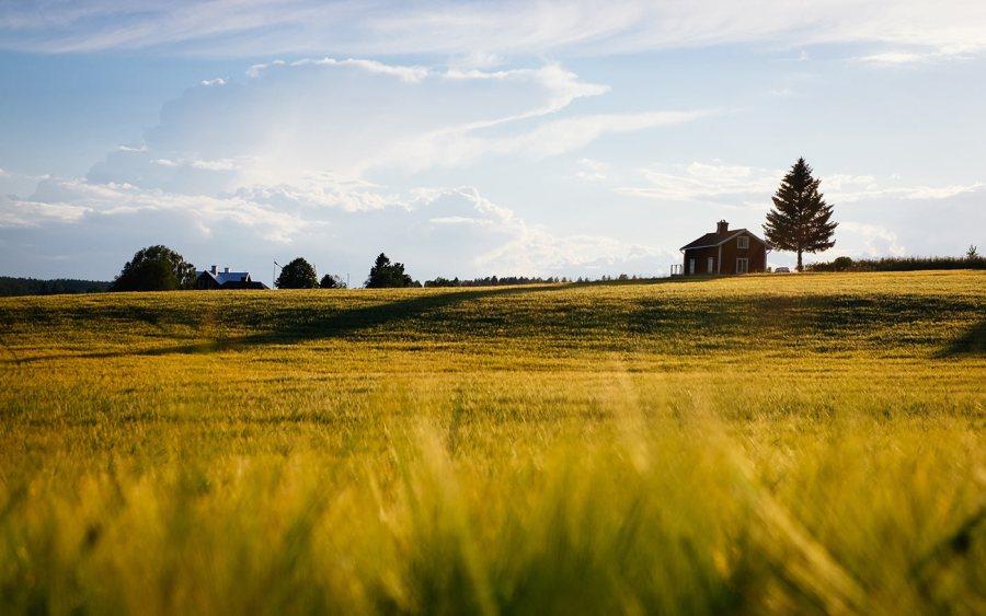 A home sitting on a midwestern, prairie homestead.