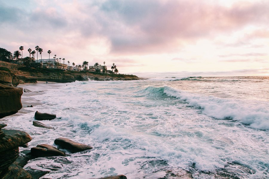 The Pacific coastline in San Diego at sunset