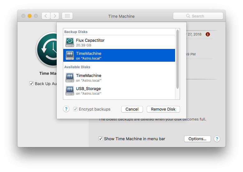 "The ""Add or Remove Backup Disks"" screen from Apple's Time Machine preference pane"