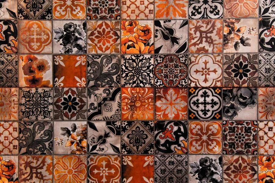 Assorted patterned tiles