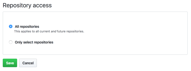 "The ""Repository Access"" screen within GitHub's permissions screen, letting users choose between granting access to all or select repositories"