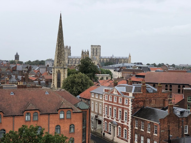 The cathedral - or here what they call a Minster - in the background