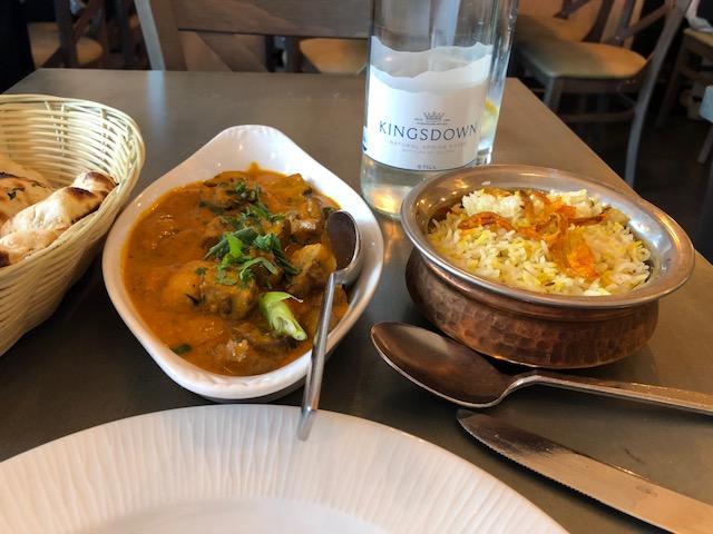 Mushroom masala, rice, naan