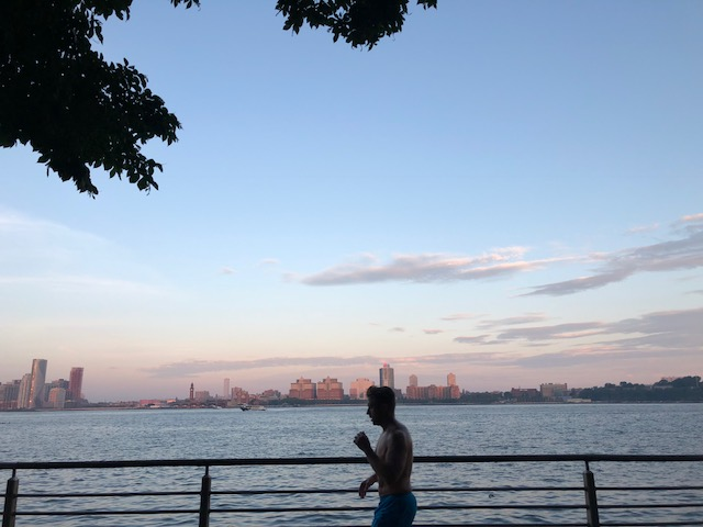 Hudson River and a jogger