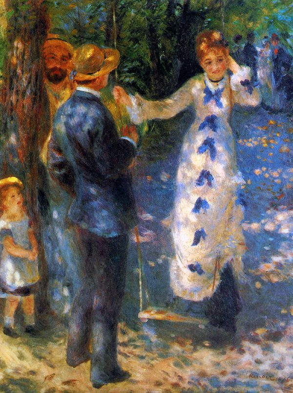 The Swing by Renoir - a woman in a white dresss with blue accents down the middle of the front , standing on a swing, talking to a man
