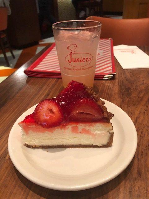 Cheesecake and pink lemonade from Junior's