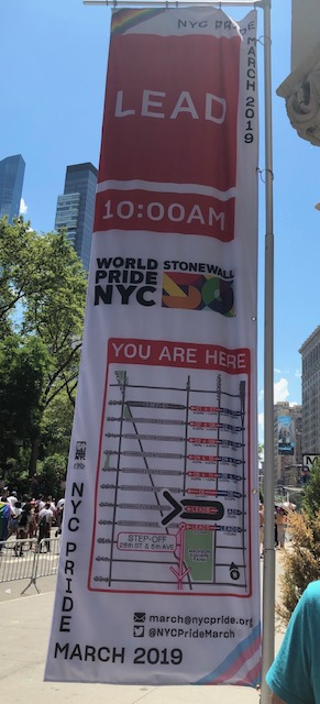 A banner with a schedule overlaying a map, to show what step off times were supposed to be for those waiting on the side streets