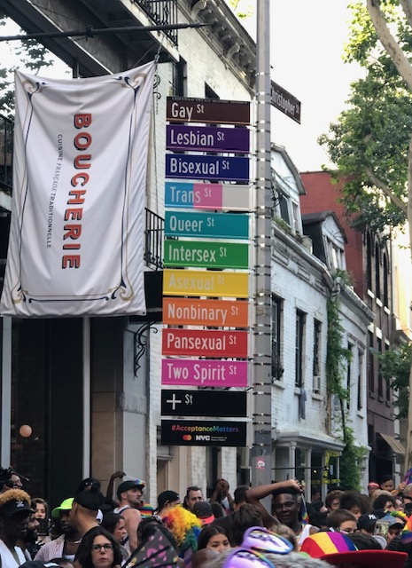 Street Sign that has all of the letters represented at the intersection: Christopher St in one direction, in the other going down is Gay St, Lesbian St, Bisexual St, Trans St, Queer St, Intersex St, Asexual St, Nonbinary St, Pansexual St, Two Spirit St, + St