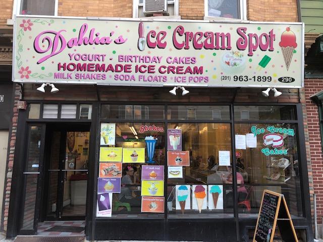 Sign over a shop: Dahlia's Ice Cream Spot - homemade ice cream, birthday cakes, milk shakes, soda floats, ice pops