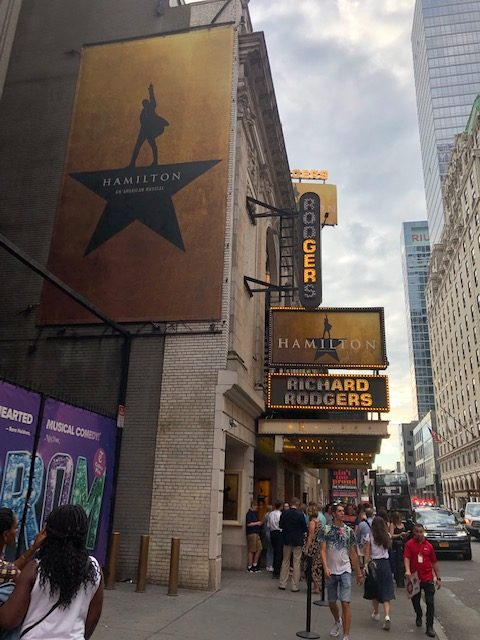 Marquee for Hamilton at Richard Rodgers Theater