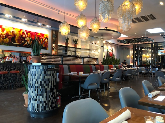 inside of Elmo's, very chic dining area