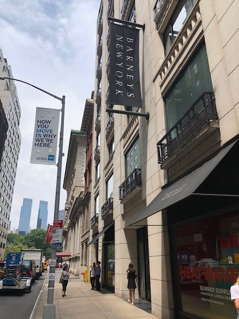 Sidewalk sign for Barneys of New York