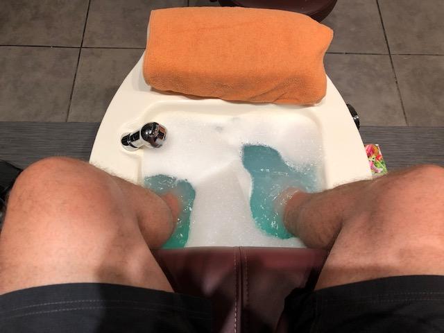 Feet in a bubble bath