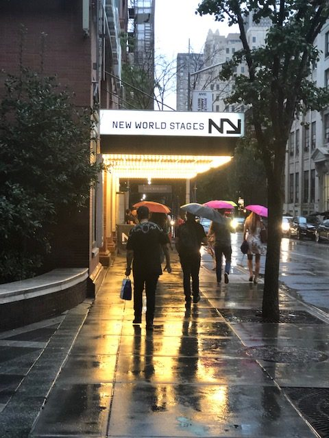 New World Stages theater marquee from the sidewalk