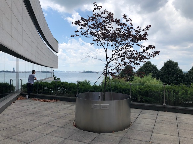 A patio from the 2nd level of the museum, Statue of Liberty in the background