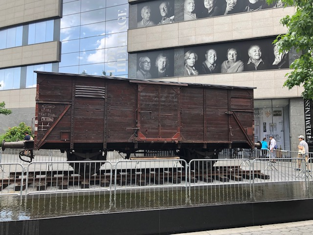 A train car from Auschwitz at the museum entrance