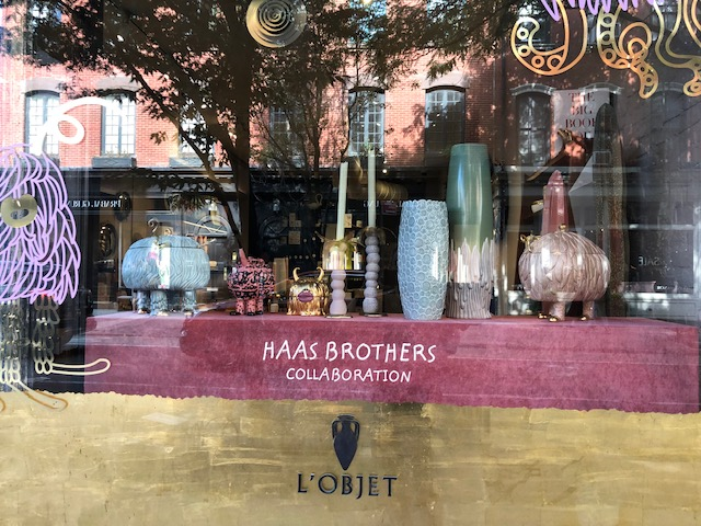 Closeup of the window that says Haas Brothers Collaboration