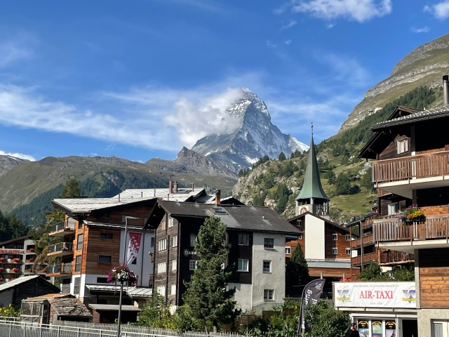 matterhorn with the town in front of it