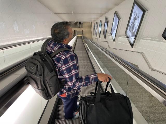 Ash on an escalator