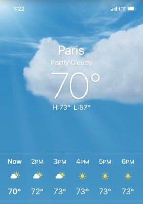 screen shot of the weather showing 70 degrees and a high of 73, partly cloudy to full sun
