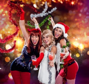 the unlike trio 01/Devil, Angel and Santa celebrating Xmas