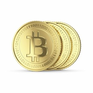 Three Bitcoin digital currency coins
