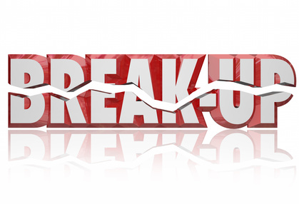 Break-Up 3d Words Divorce Separation Split Partnership