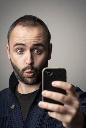 Looking at phone