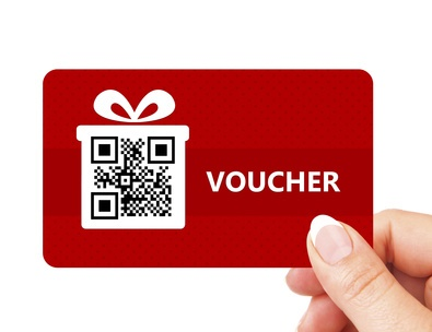 hand holding christmas voucher isolated over white