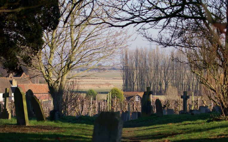 Teynham churchyard looking north over the orchards and grazing marshes beyond