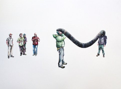 """Michelle Ramin 'Ben and Travis Find a Tube' [Watercolor on Paper, 22"""" x 30"""", 2015]"""