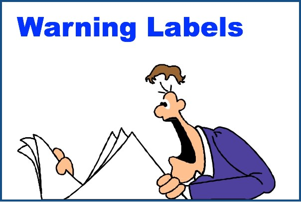 Man Shocked by Warning Labels, Cartoon Using Clip Art Purchased by Steve Kaye
