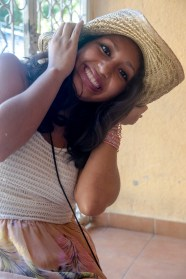 Ana goofing with my hat