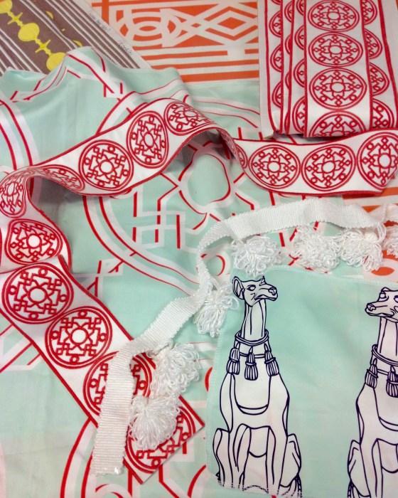 Bombay Embroidered Tape in Malibu w Pompon Trim & Bombay & Elsie yardage on Cotton Sateen (2)