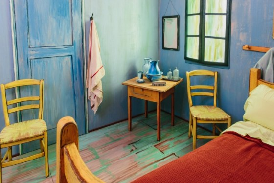 Detail shot of Van Gogh's replica bedroom.
