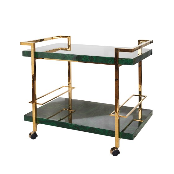 Worlds Away Malachite Bar Cart