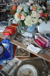 floral, blue and white, napkins, Gien