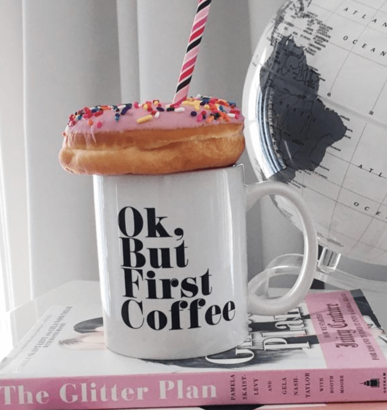 coffee mug, donut
