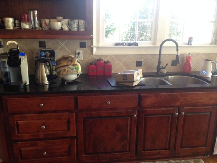 before after, 90s kitchen, dark kitchen, dark countertop, remodel