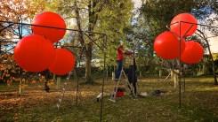 Instaling balloons in Lancaster