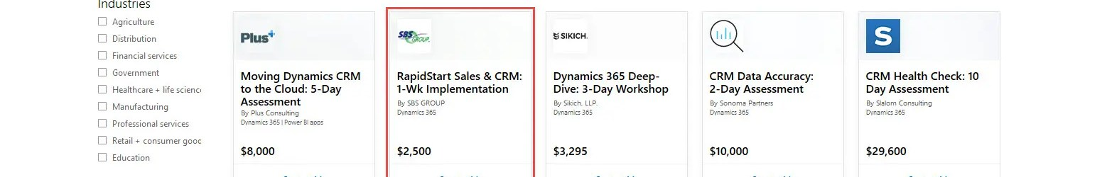 Dynamics 365 – Services Offers in AppSource