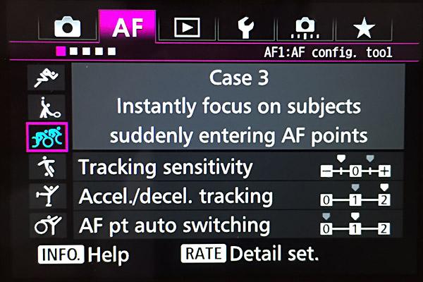 AF settings - Canon 7d mark II