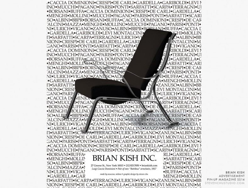 Brian Kish - Pin-Up Magazine Advertisement - Caccia Dominioni Battibus armchair