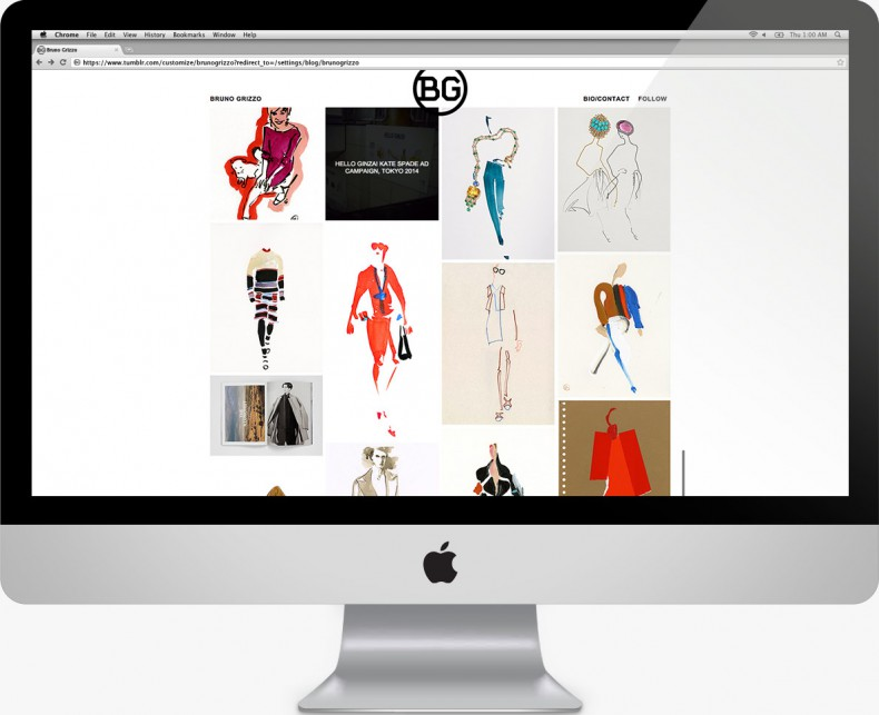 Bruno Grizzo - Fashion Illustrator - customized Tumblr template website