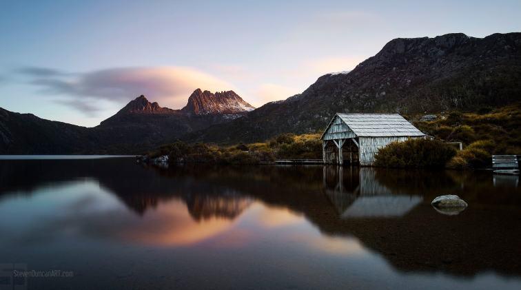 Cradle Mountain and Dove Lake Boathouse