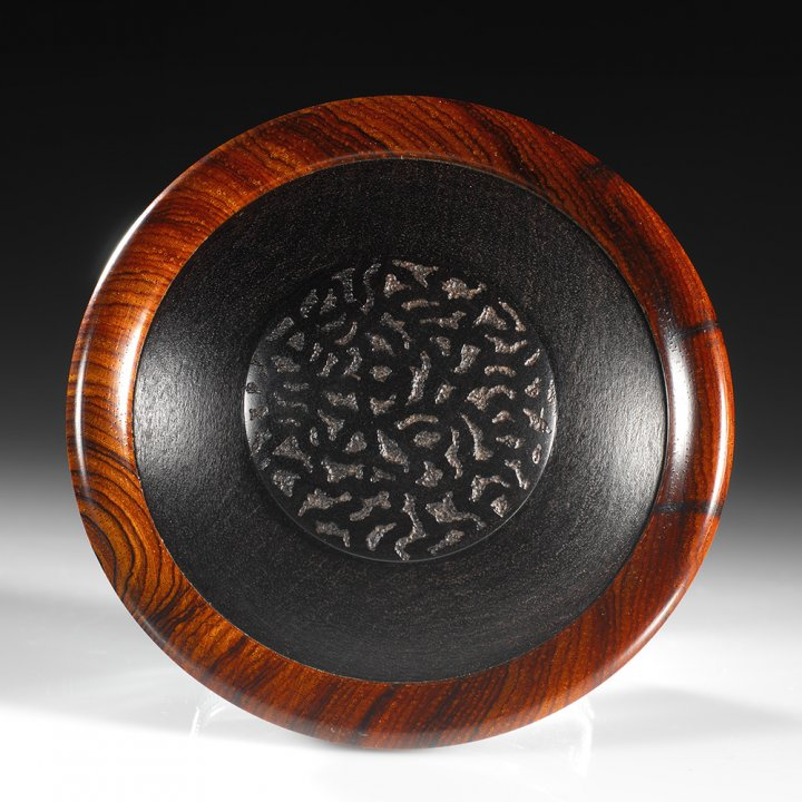 Lost Orchard lid - African Blackwood, Cocobolo. Approximately 3.25″ in diameter and 3″ high. $1995 contact me for purchase information Steven Kennard