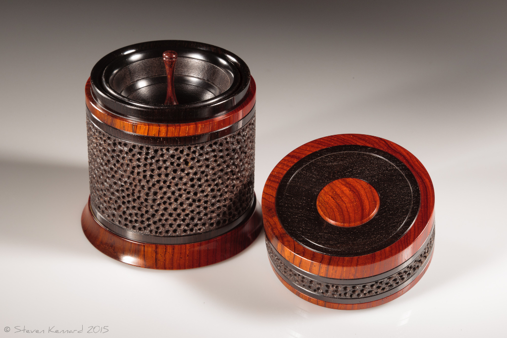 Celebration 3 open, showing tray -  African blackwood, cocobolo  Height: 4″ Diameter: 3 3/8″– $1950 contact me for purchase information Steven Kennard Open showing tray – Steven Kennard